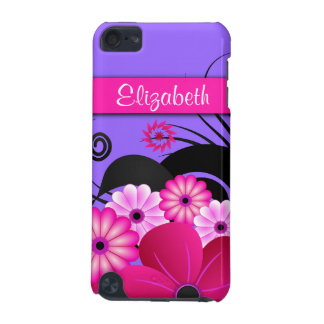 Fuchsia Hot Pink and Purple Floral Hibiscus Slim iPod Touch 5G Cases