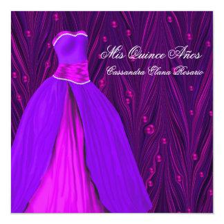 "Fuchsia Hot Pink Dress Purple Hot Pink Quinceanera 5.25"" Square Invitation Card"