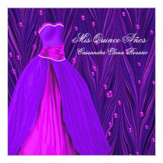 Fuchsia Hot Pink Dress Purple Hot Pink Quinceanera Custom Invite