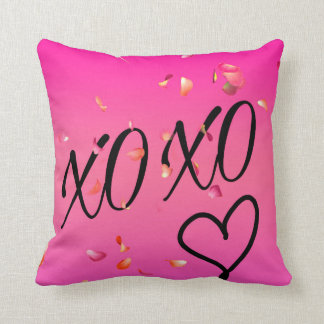 Fuchsia Hugs & Kisses Throw Pillow