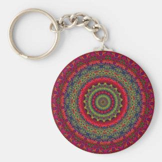 Fuchsia Kaleidoscope Mandala Basic Round Button Key Ring