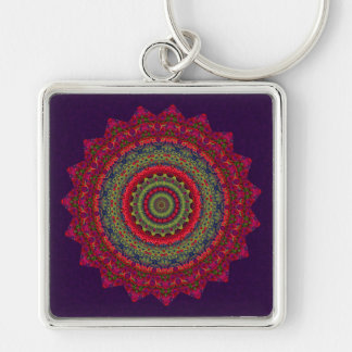 Fuchsia Kaleidoscope Mandala Key Chains
