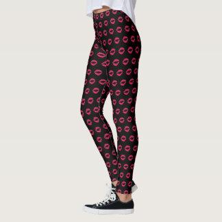 Fuchsia Lip Print Leggings