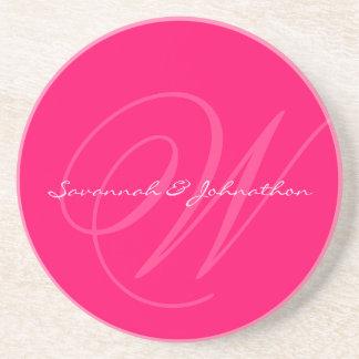 Fuchsia Monogram Wedding Anniversary Coasters