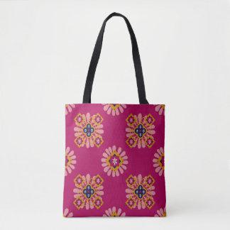 Fuchsia Moroccan Decorative Pattern Tote Bag