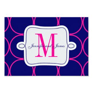 Fuchsia Navy Blue Modern Wedding RSVP #2 Card