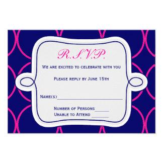 Fuchsia Navy Blue Modern Wedding RSVP 2 Custom Invitations
