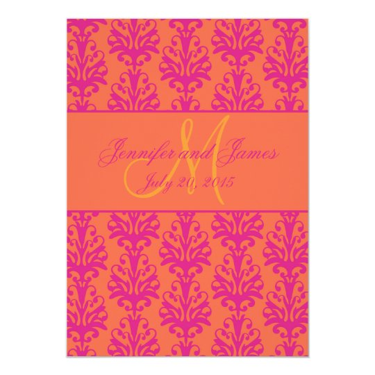 Fuchsia Orange Damask Wedding Invitation