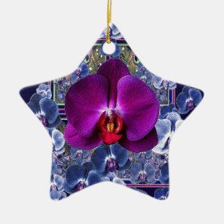 Fuchsia Orchid Bler-Grey Celestial Orchids Ceramic Ornament