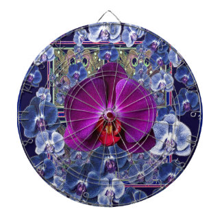 Fuchsia Orchid Bler-Grey Celestial Orchids Dartboard With Darts