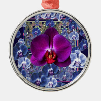 Fuchsia Orchid Bler-Grey Celestial Orchids Metal Ornament