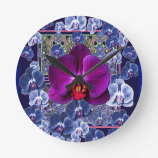 Fuchsia Orchid Bler-Grey Celestial Orchids Round Clock