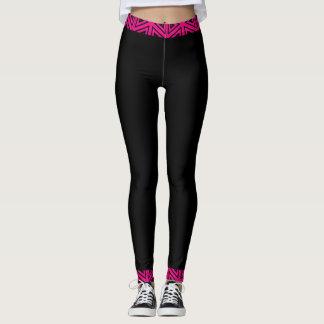Fuchsia Pink & Black 4Tina Leggings