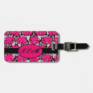 Fuchsia Pink Black Grey Parisian Damask Monogram Luggage Tag