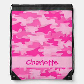 Fuchsia Pink Camouflage Name Personalized Drawstring Bag