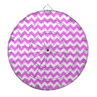 Fuchsia Pink Chevron Stripes Dartboard With Darts