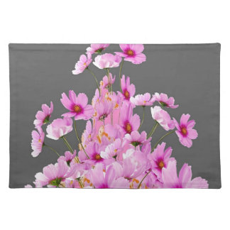 FUCHSIA PINK COSMOS GREY FLORAL DESIGN PLACEMAT