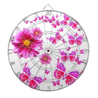 Fuchsia Pink Dahlia's & Butterflies white Pattern Dartboard