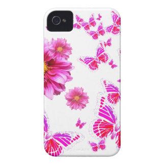 Fuchsia Pink Dahlia's & Butterflies white Pattern iPhone 4 Case