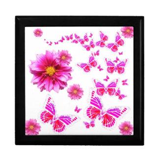 Fuchsia Pink Dahlia's & Butterflies white Pattern Large Square Gift Box