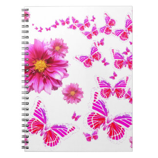 Fuchsia Pink Dahlia's & Butterflies white Pattern Note Book