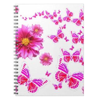 Fuchsia Pink Dahlia's & Butterflies white Pattern Notebook