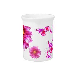 Fuchsia Pink Dahlia's & Butterflies white Pattern Pitcher