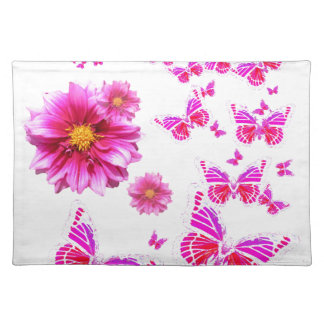 Fuchsia Pink Dahlia's & Butterflies white Pattern Placemat