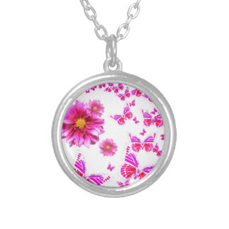 Fuchsia Pink Dahlia's & Butterflies white Pattern Silver Plated Necklace