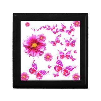 Fuchsia Pink Dahlia's & Butterflies white Pattern Small Square Gift Box