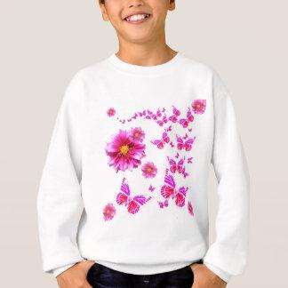Fuchsia Pink Dahlia's & Butterflies white Pattern Sweatshirt
