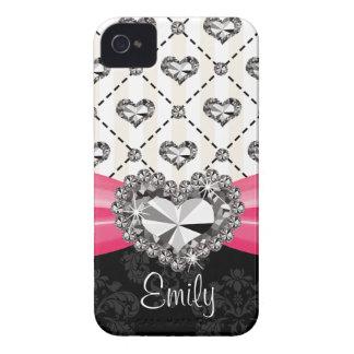 Fuchsia Pink Diamond Heart Rhinestone Blackberry B iPhone 4 Covers