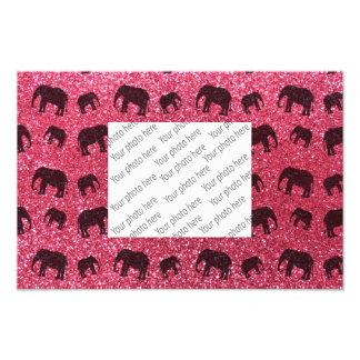 Fuchsia pink elephant glitter pattern photo art