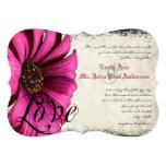 Fuchsia Pink Gerber Daisy Wedding Invite