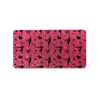 Fuchsia pink gymnastics glitter pattern label