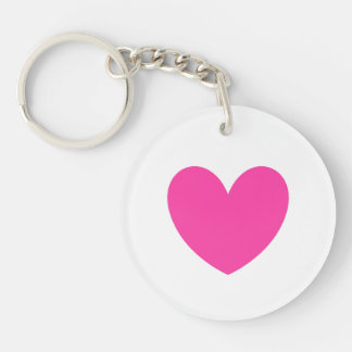 Fuchsia pink heart on white key ring