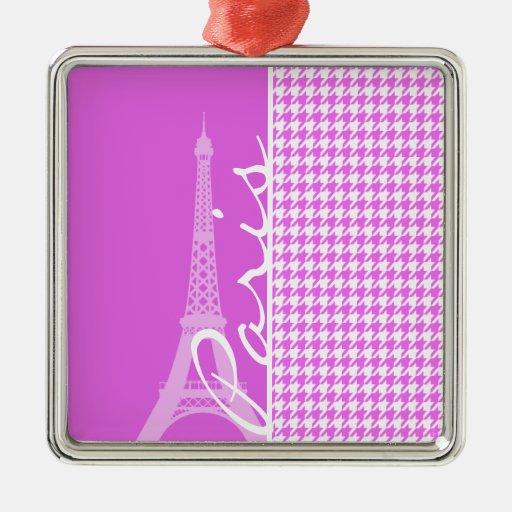 Fuchsia Pink Houndstooth; Paris Christmas Tree Ornament