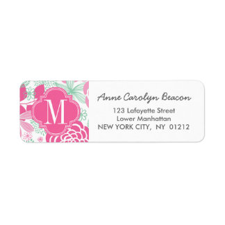 Fuchsia Pink Mint Green Girly Floral Personalized Return Address Label