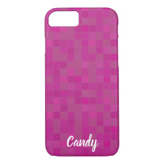 Fuchsia pink mosaic pixels name iPhone case