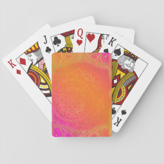 Fuchsia Pink Orange & Gold Indian Mandala Glam Playing Cards