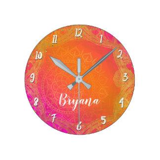 Fuchsia Pink Orange & Gold Indian Mandala Glam Round Clock