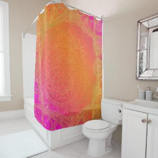 Fuchsia Pink Orange & Gold Indian Mandala Glam Shower Curtain