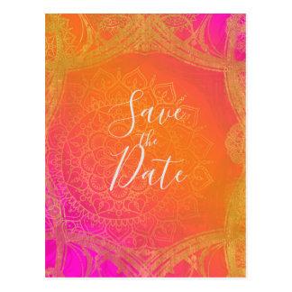 Fuchsia Pink Orange & Gold Mandala Save the Date Postcard