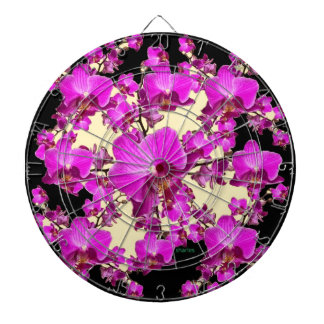 Fuchsia Pink Orchids Cream & Black Pattern Gifts Dartboards