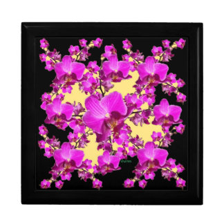 Fuchsia Pink Orchids Cream & Black Pattern Gifts Large Square Gift Box