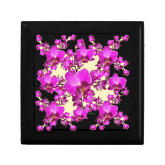 Fuchsia Pink Orchids Cream & Black Pattern Gifts Small Square Gift Box