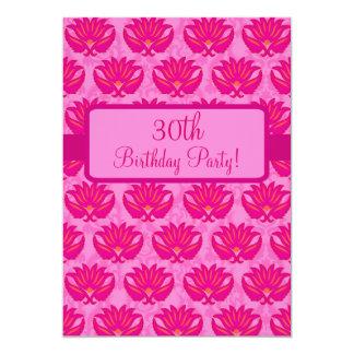 Fuchsia Pink Parisian Damask 30th Birthday Party 13 Cm X 18 Cm Invitation Card