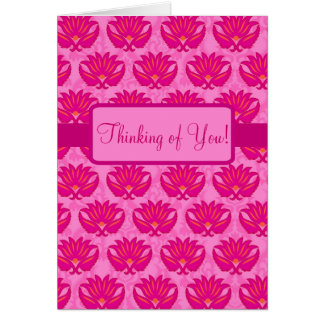 Fuchsia Pink Parisian Damask Thinking of You Card