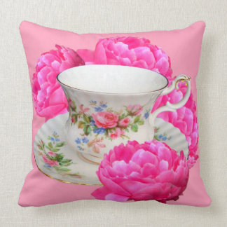 FUCHSIA PINK PEONIES TEA TIME CUSHION