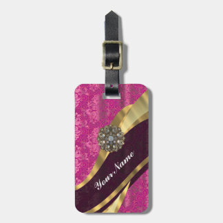 Fuchsia pink personalized pretty damask pattern travel bag tag